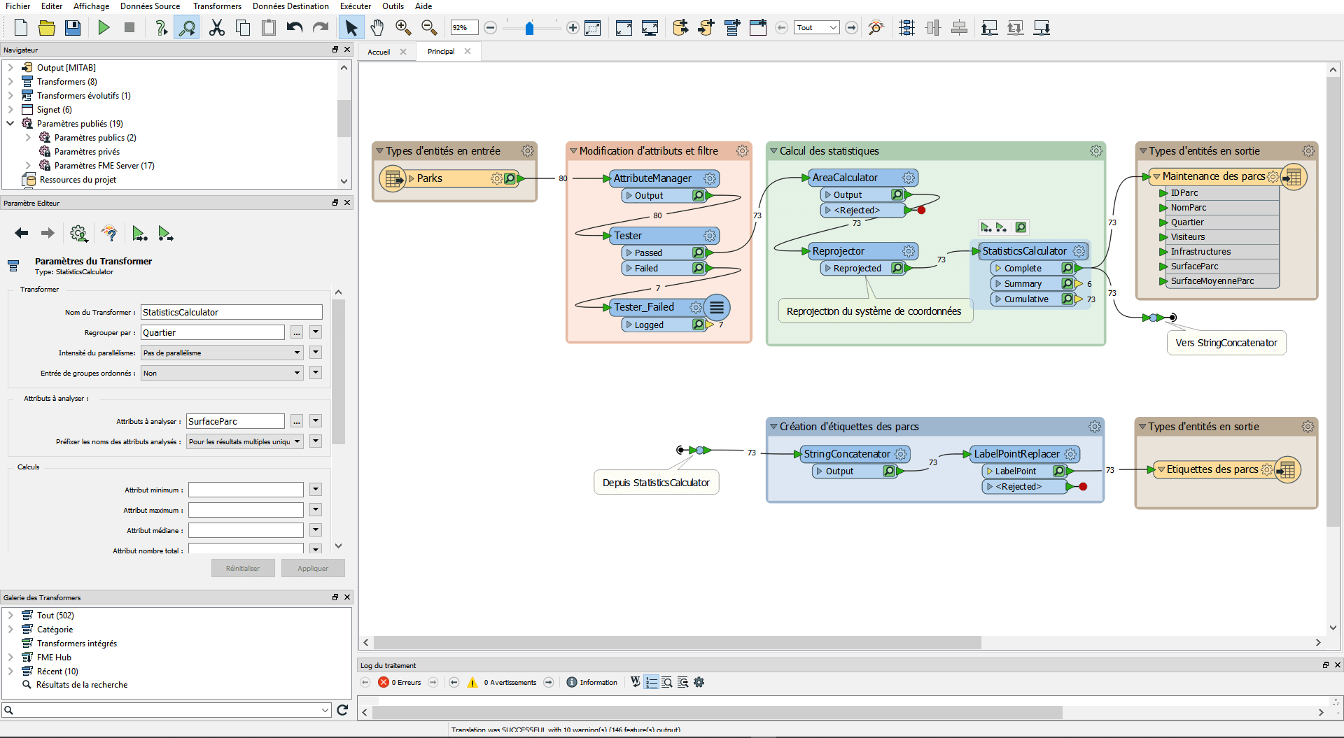Interface de FME Workbench