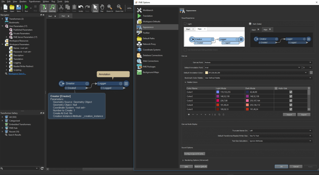 Interface de Workbench avec le dark mode activé